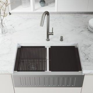 "VIGO 33"" Oxford Stainless Steel Slotted Apron 2-Bowl Kitchen Sink Workstation with Oakhurst LED Faucet & Soap Dispenser"