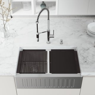 "VIGO 33"" Oxford Stainless Steel Slotted Apron 2-Bowl Kitchen Sink Workstation with Chrome Livingston Faucet & Soap Pump"