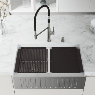 """VIGO 33"""" Oxford Stainless Steel Slotted Apron 2-Bowl Kitchen Sink Workstation Sink with Norwood Faucet & Soap Dispenser"""