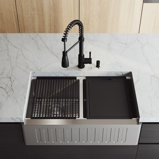 "VIGO 33"" Oxford Stainless Steel Slotted Apron 2-Bowl Kitchen Sink Workstation with Matte Black Brant Faucet & Soap Pump"