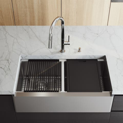 """VIGO 36"""" Oxford Stainless Steel Flat Apron 2-Bowl Kitchen Sink Workstation with Chrome Greenwich Faucet & Soap Pump"""