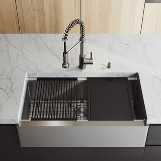 "VIGO 36"" Oxford Stainless Steel Flat Apron Kitchen Sink Workstation with Stainless Steel Edison Faucet & Soap Dispenser"