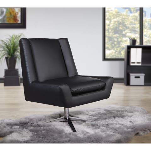 Swivel Mid-Century Faux Leather Guest Chair