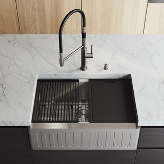 """VIGO 30"""" Oxford Stainless Steel Slotted Apron Kitchen Sink Workstation with Stainless Steel Norwood Faucet & Soap Pump"""