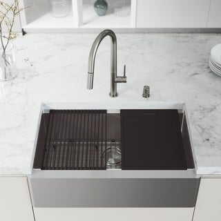 "VIGO 33"" Oxford Stainless Steel Flat Apron Kitchen Sink Workstation, Stainless Steel Greenwich Faucet & Soap Dispenser"
