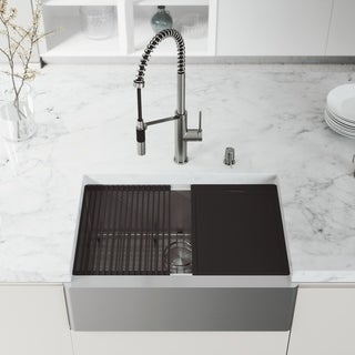 "VIGO 30"" Oxford Stainless Steel Flat Apron Kitchen Sink Workstation with Magnetic Livingston Faucet & Soap Dispenser"