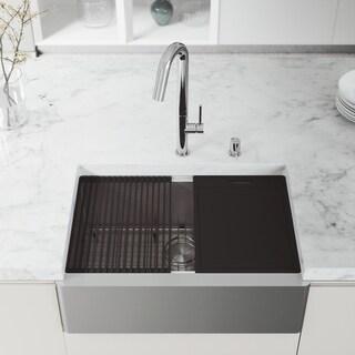"VIGO 30"" Oxford Stainless Steel Flat Apron Kitchen Sink Workstation with Oakhurst LED Faucet in Chrome & Soap Dispenser"