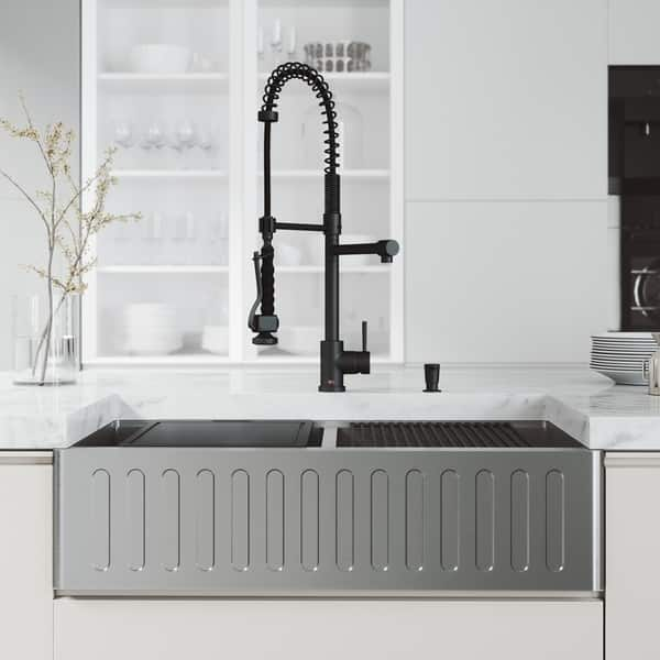 Vigo 36 Oxford Stainless Steel Slotted Apron 2 Bowl Kitchen Sink Workstation With Black Zurich Faucet Soap Dispenser Overstock 29401987