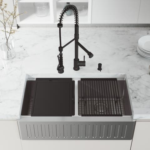 "VIGO 36"" Oxford Stainless Steel Slotted Apron 2-Bowl Kitchen Sink Workstation with Black Zurich Faucet & Soap Dispenser"