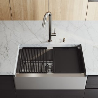 "VIGO 33"" Oxford Stainless Steel FarmhouseFlat Apron Kitchen Sink Workstation with Oakhurst LED Faucet & Soap Dispenser"