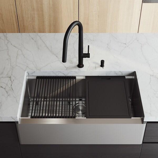 "VIGO 36"" Oxford Stainless Steel Flat Apron Kitchen Sink Workstation with Matte Black Greenwich Faucet & Soap Dispenser"