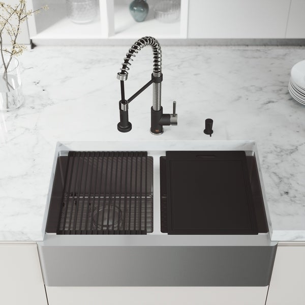 "VIGO 33"" Oxford Stainless Steel Flat Apron Double-Bowl Kitchen Sink Workstation with Edison Faucet & Soap Dispenser"