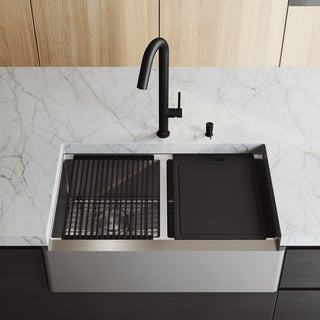 "VIGO 33"" Oxford Stainless Steel Flat Apron 2-Bowl Kitchen Sink Workstation & Oakhurst LED Black Faucet & Soap Dispenser"
