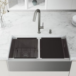 "VIGO 36"" Oxford Stainless Steel Flat Apron Double-Bowl Kitchen Sink Workstation with Oakhurst LED Faucet & Soap Pump"