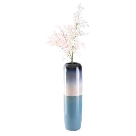 "31.5"" Tricolor Blue Tricolor Hand Painted Ceramic Handmade Floor Vase"