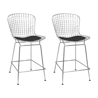 Link to Mid Century Modern Chrome Wire Bar Stool (Set of 2) Similar Items in Dining Room & Bar Furniture