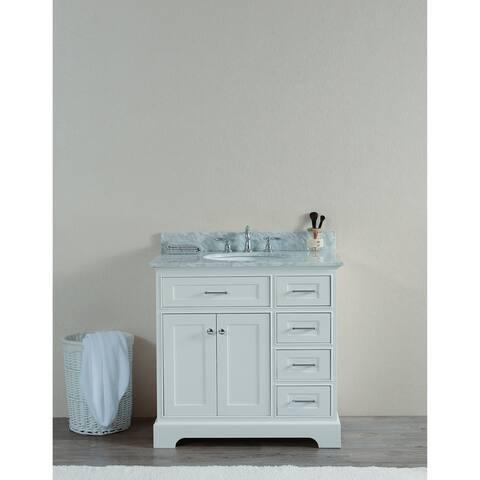 "WS3036-W 36"" Solid Wood Sink Vanity Withiut Faucet"