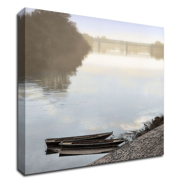 """""""Boats on the Seine 2"""" by Alan Blaustein, Print on Canvas, Ready to Hang"""