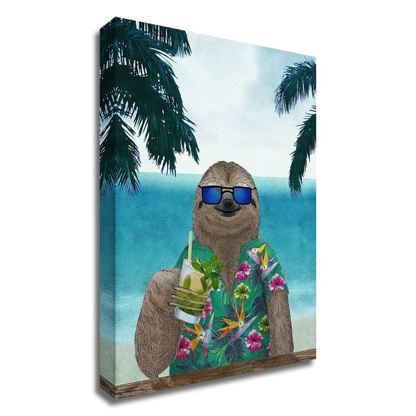 """""""Sloth on Summer Holidays"""" by Barruf, Print on Canvas, Ready to Hang"""