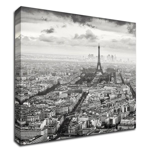 """""""La Tour Eiffel et La Defense"""" by Wilco Dragt, Print on Canvas, Ready to Hang"""