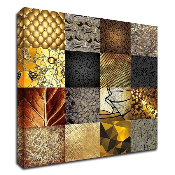 """""""Tiles Decor Gold"""" by GraphINC, Print on Canvas, Ready to Hang"""