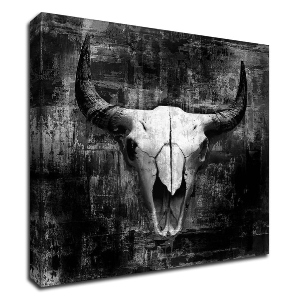 """Black Cowskull"" by GraphINC, Print on Canvas, Ready to Hang"