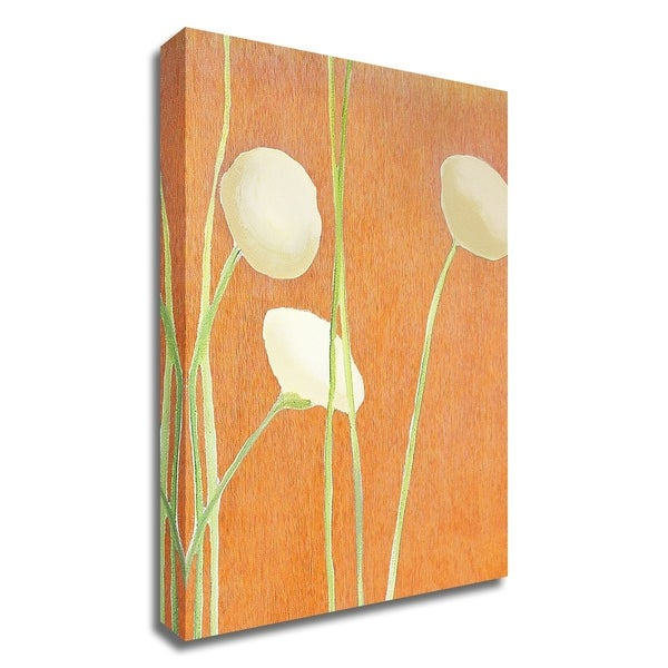 """""""Cream Flowers on Orange"""" by India & Purry, Print on Canvas, Ready to Hang"""