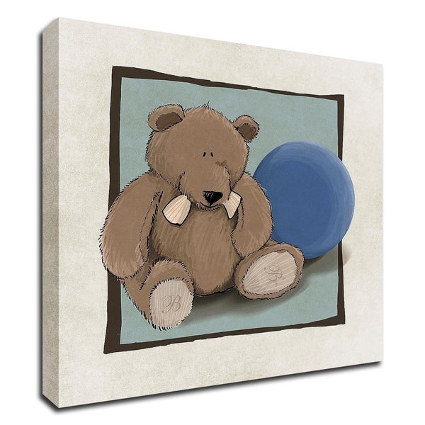 """""""Teddy Bear and Ball"""" by GraphINC, Print on Canvas, Ready to Hang"""