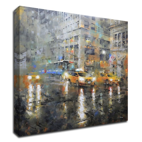 """Manhattan Orange Rain"" by Mark Lague, Print on Canvas, Ready to Hang"