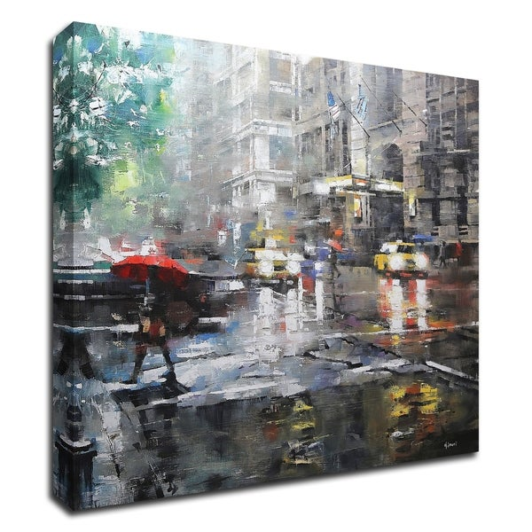"""Manhattan Red Umbrella"" by Mark Lague, Print on Canvas, Ready to Hang"