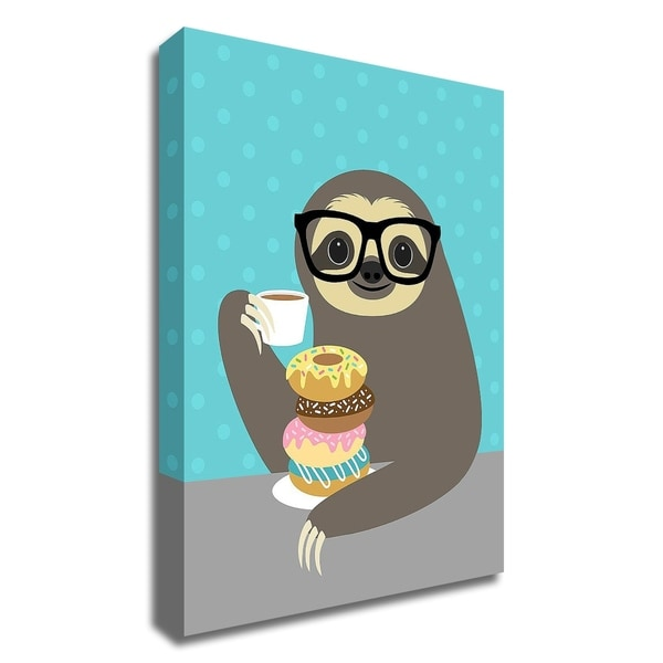 """""""Snacking Sloth"""" by Nancy Lee, Print on Canvas, Ready to Hang"""