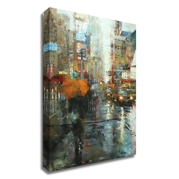"""Manhattan Orange Umbrella"" by Mark Lague, Print on Canvas, Ready to Hang"