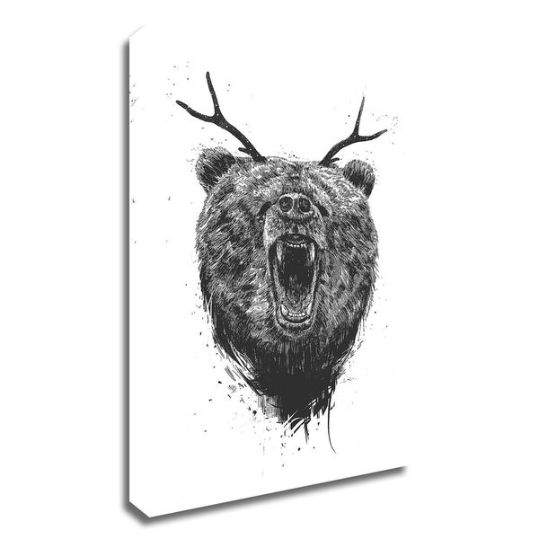 """""""Angry Bear With Antlers"""" by Balazs Solti, Print on Canvas, Ready to Hang"""