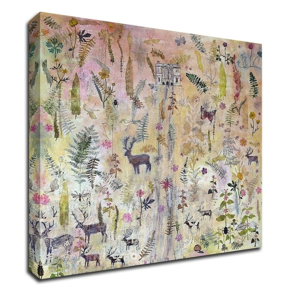 """""""Stags and Flowers"""" by Dawn Stacey, Print on Canvas, Ready to Hang"""