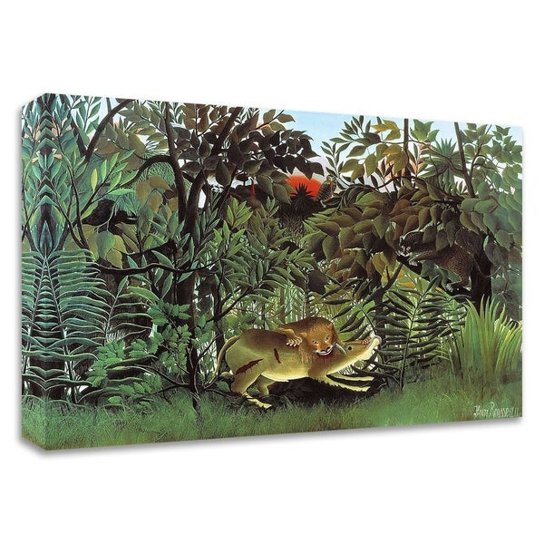 """""""The Hungry Lion"""" by Henri Rousseau, Print on Canvas, Ready to Hang"""