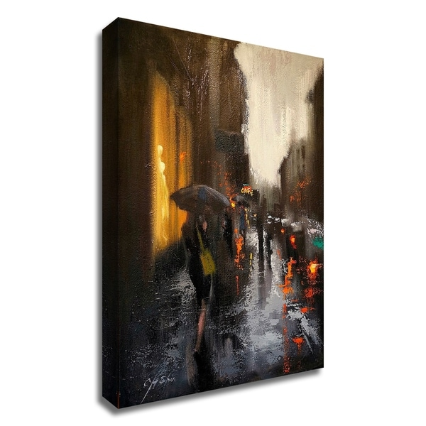 """""""Village Cafe in Rain"""" by Chin H. Shin, Print on Canvas, Ready to Hang"""