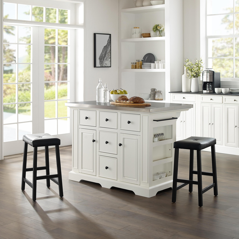 Julia Island W/Uph Saddle Stools White/Black - Kitchen Island, 2 Counter  Height Bar Stools