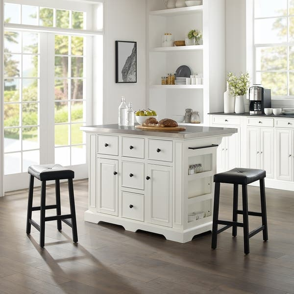 Shop Julia Island W/Uph Saddle Stools White/Black - Kitchen ...