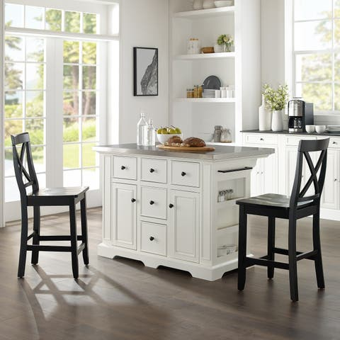Julia Island W/X-Back Stools White/Black - Kitchen Island, 2 Counter Height Bar Stools