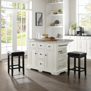 Julia Island with Upholstered Square Stools - N/A