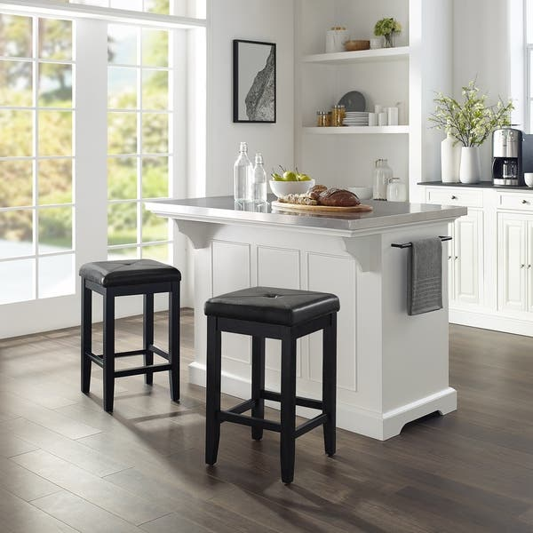 Shop Julia Island W/Uph Square Stools White/Black - Kitchen ...