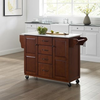Eleanor Granite Top Kitchen Cart in Mahogany