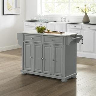 Alexandria Granite Top Kitchen Island/Cart Gray/White