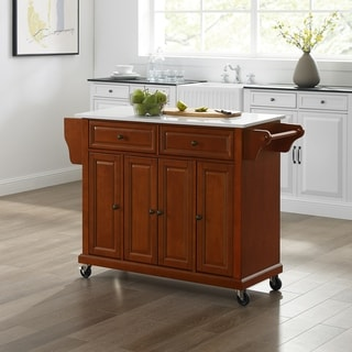 Full Size Granite Top Kitchen Cart in Cherry