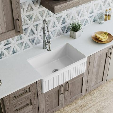MR Direct 412 Fireclay Farmhouse Kitchen Sink, Ensemble