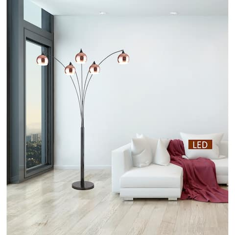 "Amore 86"" Two-tone Rose Copper & Jet Black LED Tree Floor Lamp"