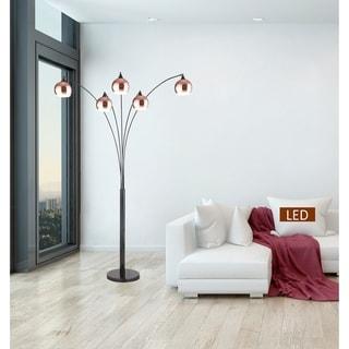 "Amore 86"" Two-tone Rose Copper & Jet Black LED Tree Floor Lamp"