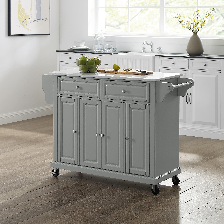 Full Size Granite Top Kitchen Cart Island Gray White 51 5 W X 18 D X 36 5 H Overstock 29406760