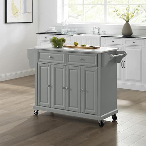 Full Size Granite Top Kitchen Cart/Island Gray/White