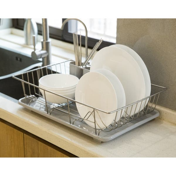 Shop Stainless Steel Dish Rack with Plastic Drain Board and ...